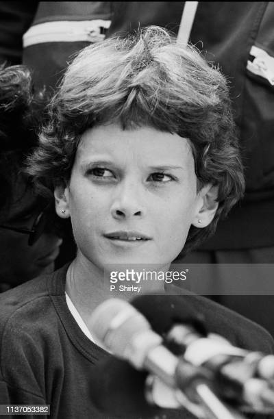 South African track and field athlete Zola Budd at a press conference, UK, 15th April 1983.