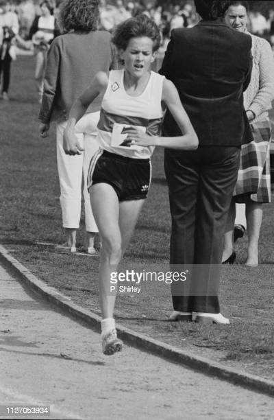 South African track and field athlete Zola Budd during a competition, UK, 15th April 1983.