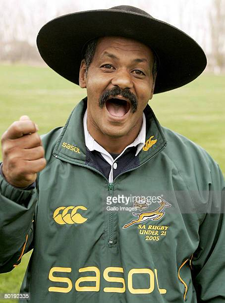 South African Under 21 rugby coach Peter de Villiers poses with his Gaucho hat during a training session during the IRB Under 21 Rugby World...