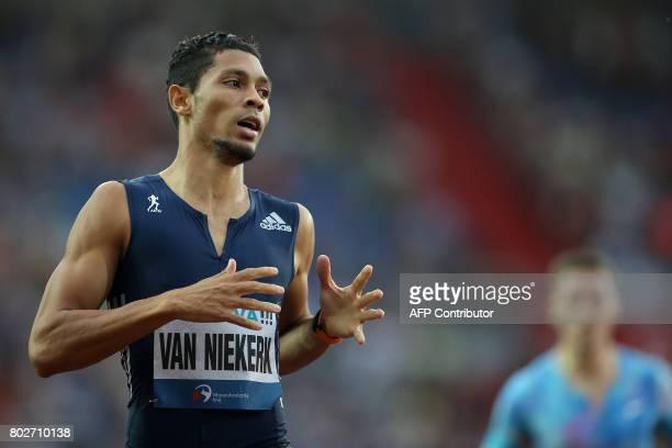 South African Wayde van Niekerk reacts during the IAAF World Challenge Zlata Tretra athletics tournament in Ostrava Czech Republic on June 28 2017 /...