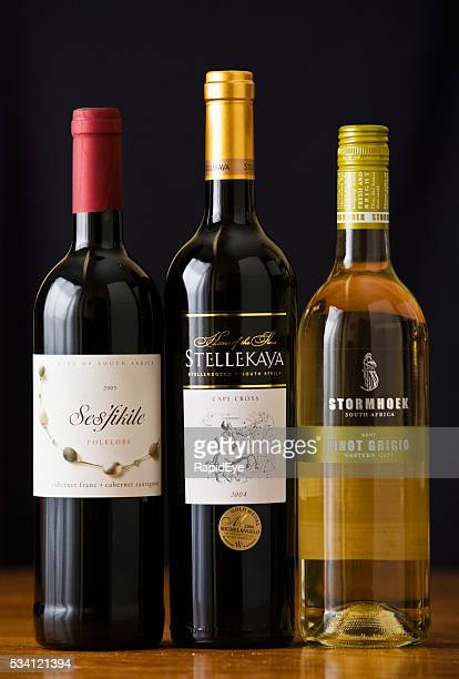 South African wine bottles: blended red and pinot grigio