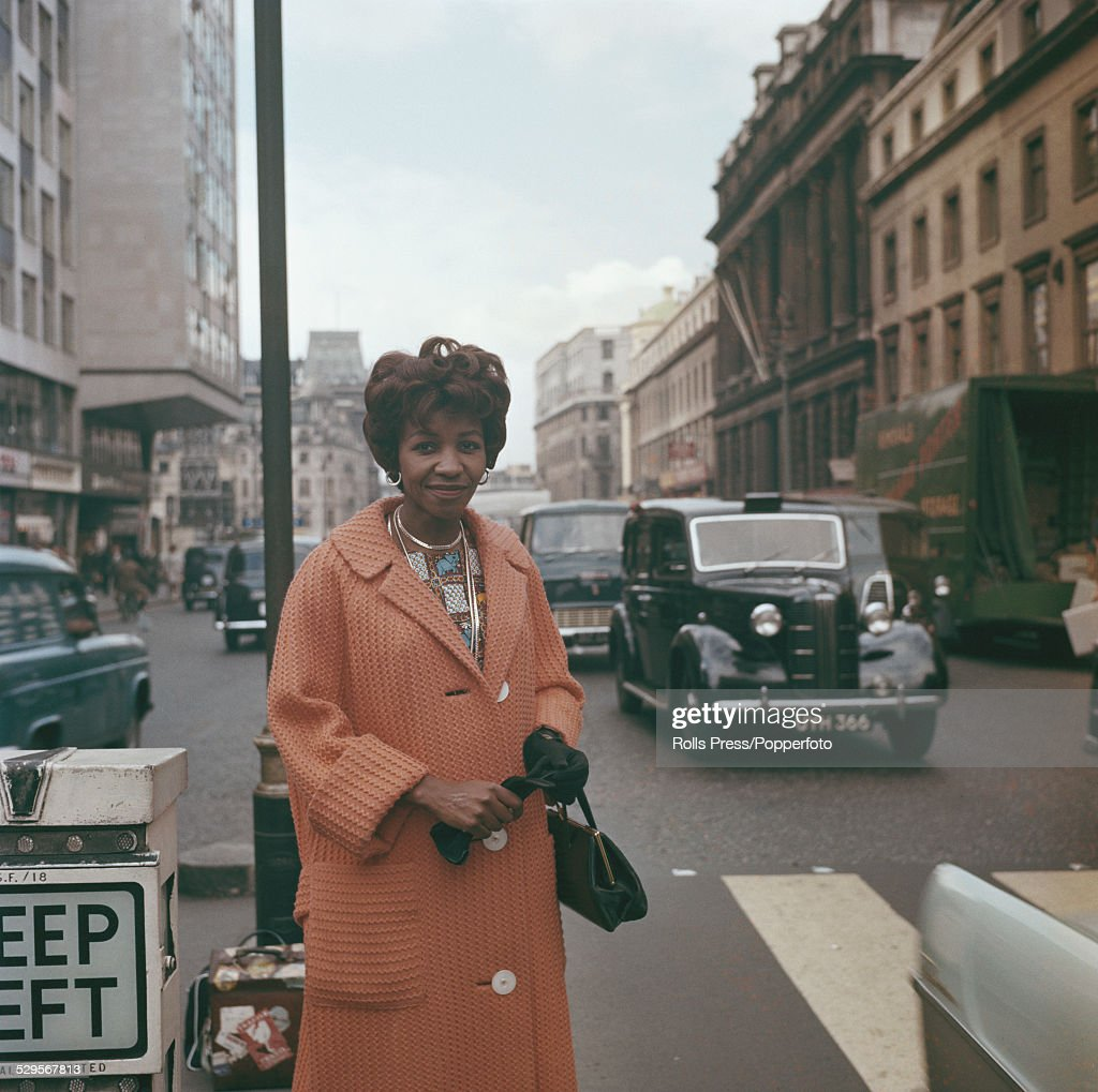 South African writer and journalist, Noni Jabavu (1919-2008) pictured standing on The Strand in London in 1961.