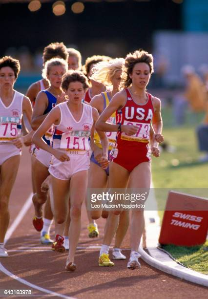 South Africanborn athlete Zola Budd competing for Great Britain and Mary Decker of the USA running in the women's 3000 metres final during the Summer...