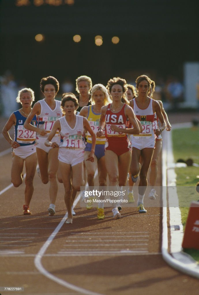 View of South African-born athlete Zola Budd (#151) competing for Great Britain and Mary Decker of the USA (#373) running in the women's 3000 metres final during the Summer Olympic Games in Los Angeles on 10th August 1984. Decker tripped over Budd's legs and did not finish whilst Budd placed seventh. Other athletes pictured are, from left to right, Agnese Possamai of Italy, silver medallist Wendy Sly of Great Britain, Dianne Rodger of New Zealand, gold medallist Maricica Puica of Romania and Brigitte Kraus of West Germany.