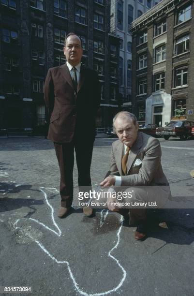 South African-born British actor Stratford Johns and English actor Frank Windsor in the BBC Television series 'Jack The Ripper', London, UK, 1973.