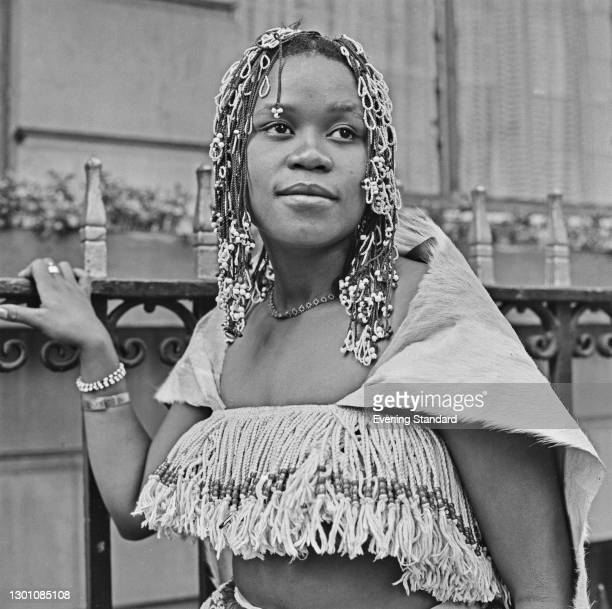 South African-German musician Audrey Motaung , a singer in the rock band Hawk or JoBurg Hawk, UK, 6th March 1973.