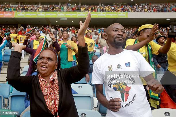 South Africans gather at the Moses Mabhida Football stadium in Durban to mark Human Rights Day on March 21 2016 South Africa celebrates Human Rights...