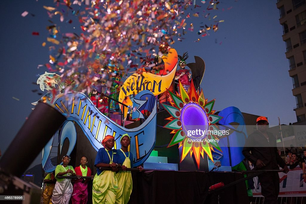 South Africans take part in 2015 Cape Town Carnival at the Green Point Fan Walk in Cape Town on March 14, 2015. The theme for Cape Town Carnival 2015 is elemental. It celebrates fire, water, air and earth.