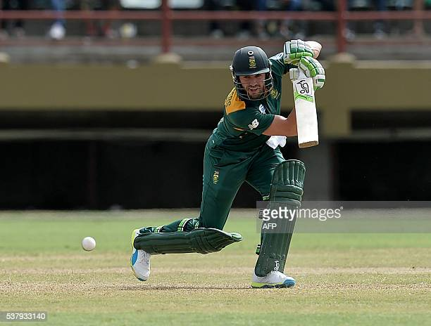 South Africa's AB de Villiers plays a shot during the first Oneday International cricket match between the West Indies and South Africa in the...