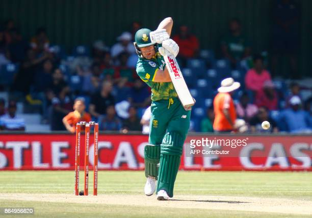 South Africa's AB de Villiers plays a shot during the ODI oneday international match against Bangladesh at the Buffalo Park Cricket Grounds in East...