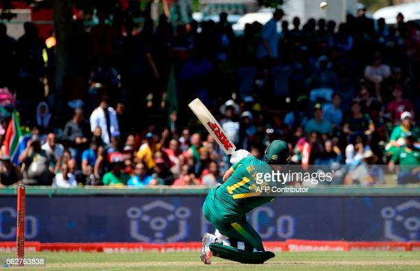 South Africa's AB de Villiers plays a shot during the second one day international cricket match between South Africa and Bangladesh at Boland Park...