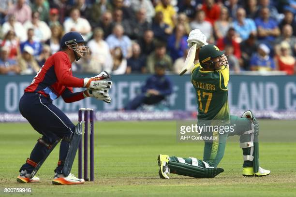 South Africa's AB de Villiers plays a shot during the third Twenty20 international cricket match between England and South Africa at Sophia Gardens...