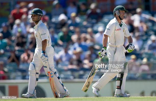 South Africa's AB DeVilliers and JeanPaul Duminy on day five of the first test against Australia at the WACA