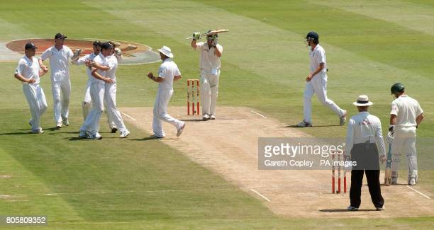 South Africa's AB deVilliers asks for his wicket to be reviewed after appearing to edge the ball to England's James Anderson he was given not out...