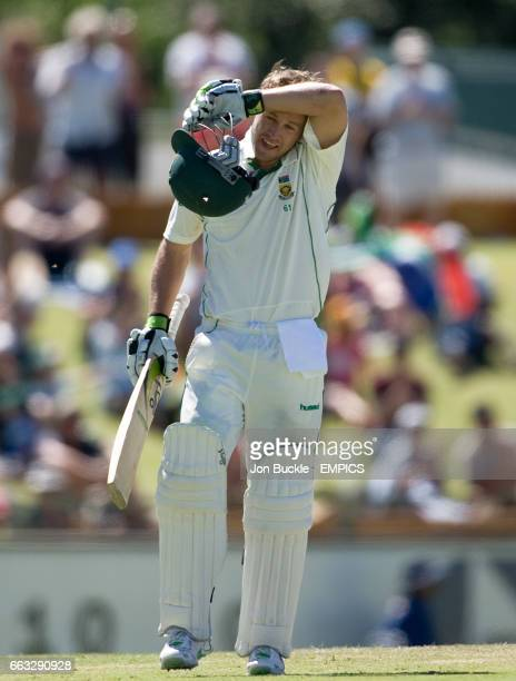 South Africa's AB DeVilliers celebrates his century on day five of the first test against Australia at the WACA