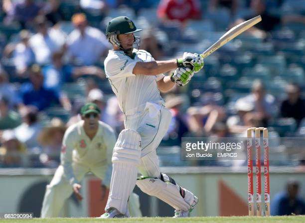South Africa's AB DeVilliers in action during his century on day five of the first test against Australia at the WACA