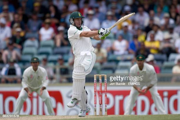 South Africa's AB DeVilliers in action on day five of the first test against Australia at the WACA