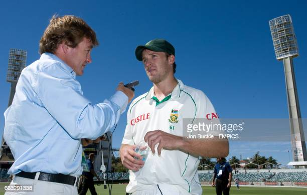 South Africa's AB DeVilliers is interviewed after victory against Australia