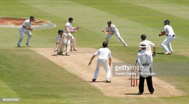 South Africa's AB deVilliers looks back after appearing to edge the ball to England's James Anderson he was given not out after South Africa reviewed...