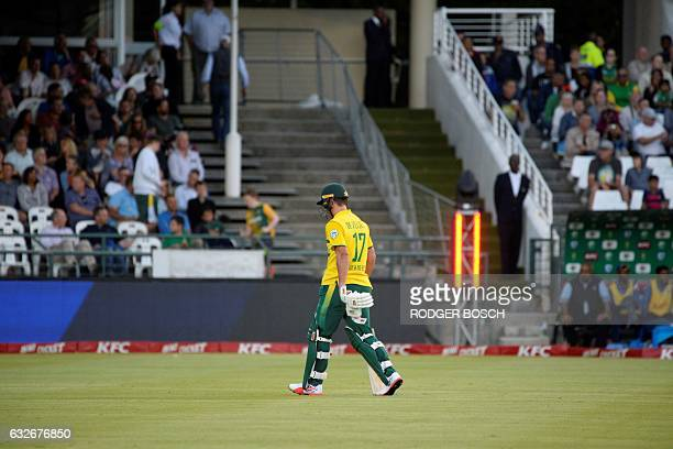 South Africa's AB DeVilliers walks off after being caught out during their T20 cricket match against Sri Lanka at Newlands on January 25 in Cape Town...