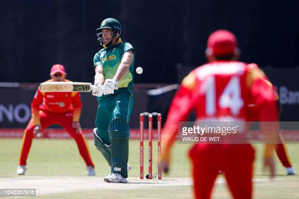 South Africa's Aiden Markram bats during the first One Day International cricket match between South Africa and Zimbabwe at the Diamond Oval in...