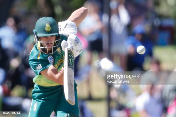 South Africa's Aiden Markram bats the ball during the second One Day International cricket match between South Africa and Zimbabwe at the Mangaung...
