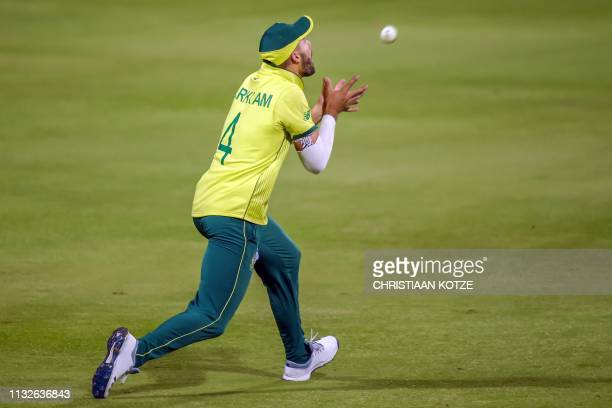 South Africa's Aiden Markram catches out Sri Lanka's Akila Dananjaya during the third Twenty20 international cricket match between South Africa and...