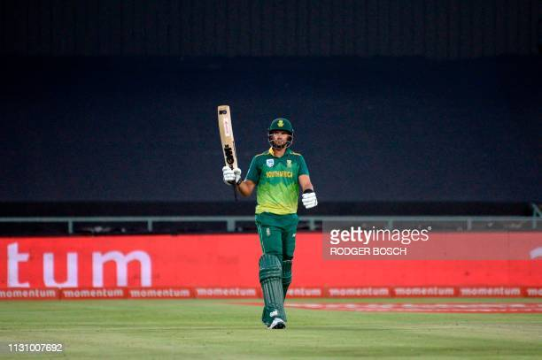 South Africa's Aiden Markram celebrates his scoring 50 runs during the 5th One Day International cricket match between Sri Lanka and South Africa at...