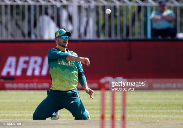 South Africa's Aiden Markram fields during the first One Day International cricket match between South Africa and Zimbabwe at the Diamond Oval in...