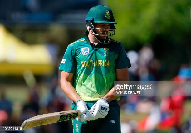 South Africa's Aiden Markram leaves the pitch after being dismissed during the second One Day International cricket match between South Africa and...