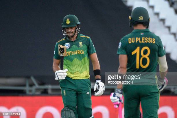 South Africa's Aiden Markram looks at his broken bat during the 5th One Day International cricket match between Sri Lanka and South Africa at...