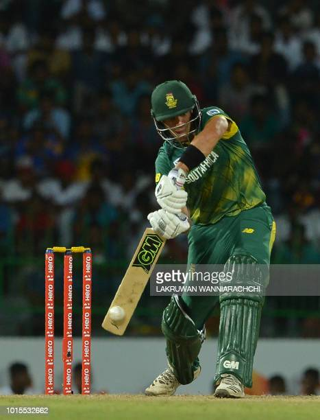 South Africa's Aiden Markram plays a shot during the fifth and final one day international cricket match between Sri Lanka and South Africa at the...