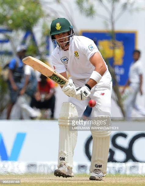 South Africa's Aiden Markram plays a shot during the third day of the opening Test match between Sri Lanka and South Africa at the Galle...