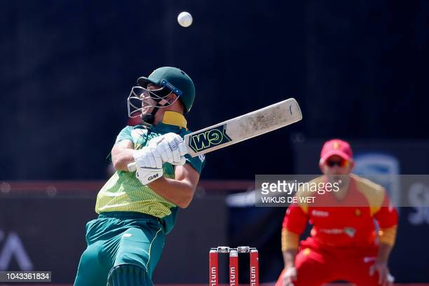 South Africa's Aiden Markram tries to avoid a bouncer during the first One Day International cricket match between South Africa and Zimbabwe at the...