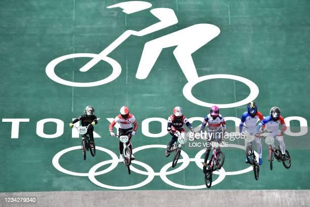 South Africa's Alex Limberg, Japan's Yoshitaku Nagasako, USA's Corben Sharrah, Britain's Kye Whyte, France's Romain Mahieu and France's Sylvain Andre...