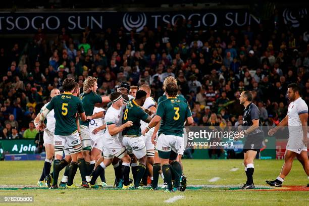 South Africa's and England's players scuffle during the second test match South Africa vs England at the Free State Stadium in Bloemfontein on June...