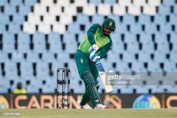 South Africa's Andile Phehlukwayo hits a six during the third one-day international cricket match between South Africa and Pakistan at SuperSport...