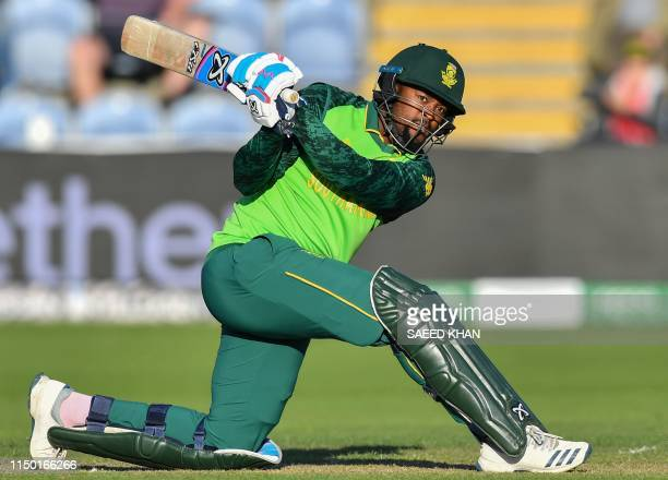 South Africa's Andile Phehlukwayo plays a shot during the 2019 Cricket World Cup group stage match between South Africa and Afghanistan at Sophia...