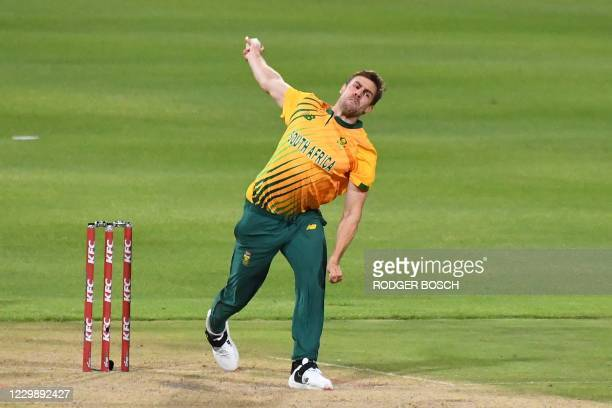 South Africa's Anrich Nortje delivers a ball during the third T20 international cricket match between South Africa and England at Newlands stadium in...