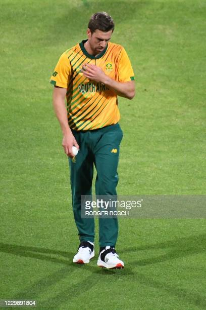South Africa's Anrich Nortje prepares to deliver a ball during the third T20 international cricket match between South Africa and England at Newlands...