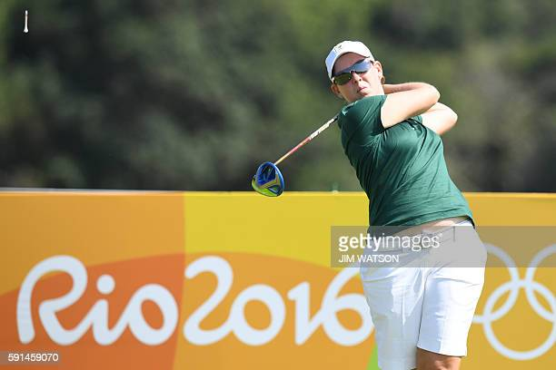 South Africa's Ashleigh Ann Simon competes in the Women's individual stroke play at the Olympic Golf course during the Rio 2016 Olympic Games in Rio...