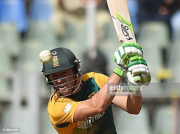 South Africa's batsman AB de Villiers plays a shot during the World T20 cricket tournament match between Afghanistan and South Africa at The Wankhede...