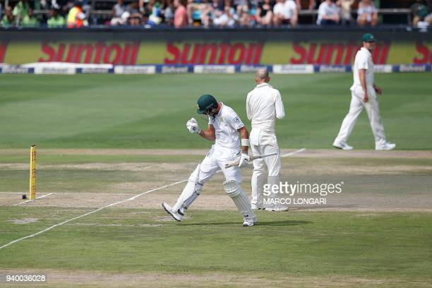 South Africa's batsman Aiden Markram celebrates scoring a century during day one of the fourth Sunfoil cricket test match between South Africa and...
