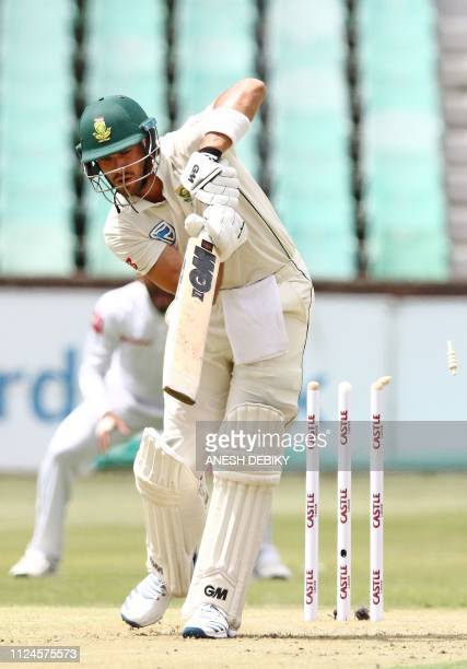 South Africa's batsman Aiden Markram cleans a bowled by Sri Lanka's Vishwa Fernando during day 1 of the first Test cricket match between South Africa...