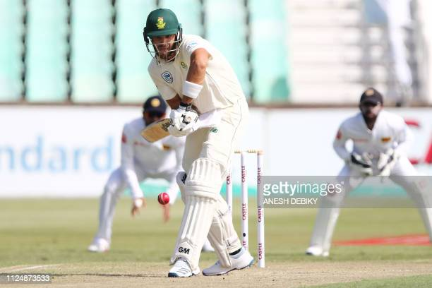 South Africa's batsman Aiden Markram hits the ball during the day 2 of the first test match between South Africa and Sri Lanka held at the Kingsmead...