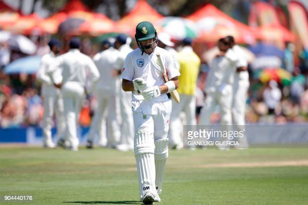 South Africa's batsman Aiden Markram leaves the field after being dismissed for 94 runs during the first day of the second Test cricket match between...