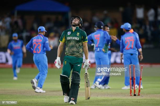 South Africa's batsman David Miller reacts after being dismissed by India's bowler Yuzvendra Chahal during the fifth one day international cricket...