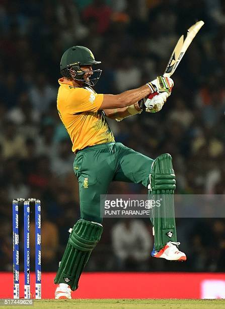 South Africa's batsman David Wiese plays a shot during the World T20 cricket tournament match between South Africa and West Indies at The Vidarbha...