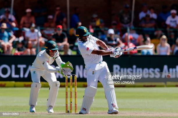 South Africa's batsman Vernon Philander plays a shot during day three of the second Test cricket match between South Africa and Australia at St...