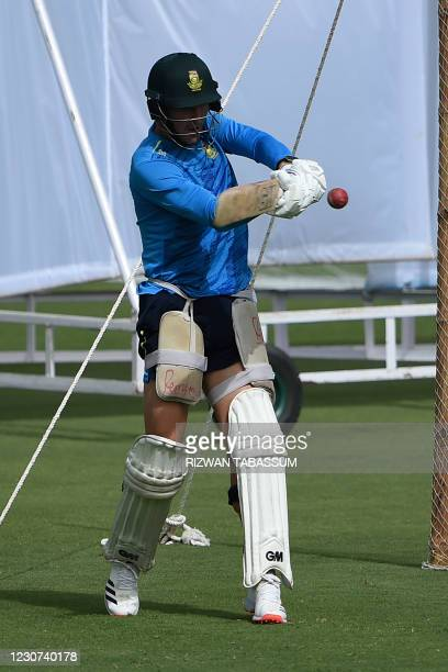South Africa's Beuran Hendricks plays a shot during a practice session at the National Stadium in Karachi on January 23 ahead of their first cricket...
